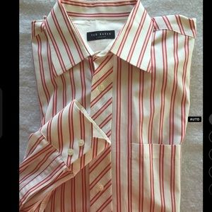 Ted Baker London white w/ red stripes buttondown